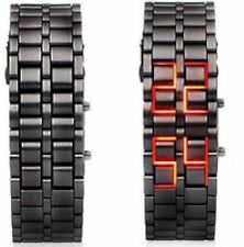 NEW GGI International MLEDLAVABRl Black Lava RED LED Digital Bracelet watch