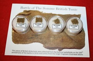 A Piece of History, single gem jar display - WWI Battle of Somme British Tunic