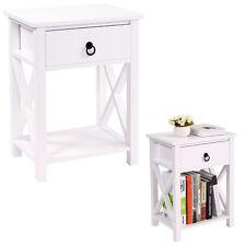 White  Bedroom  Nightstand End Side Bedside Table W/Drawer Storage Shelf Wood