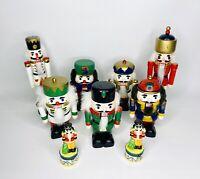 Lot of 9 Nutcrackers Tall Chunky Wood & Porcelain Trinket Boxes Christmas Decor