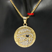 """Stainless Steel Gold Eye Egypt Pyramid Pendant Necklace 24"""" Box Chain"""