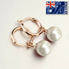 18K Rose Gold Filled Lady's Elegant 10mm Pearl Drop Clip Dangle Hoop Earrings