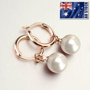 18K Rose Gold Filled Lady's Elegant 10mm Pearl Drop Clip Dangle Hoop Earrings