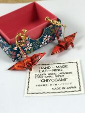 Chiyogami Red Paper Crane Earrings, Hand-Made In Japan