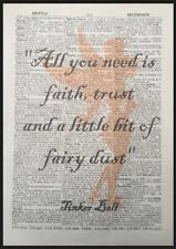 Tinkerbell Peter Pan Quote Vintage Dictionary Wall Art Print Picture Fairy Dust