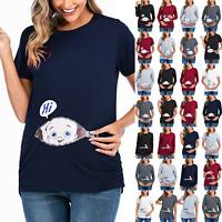 Damen Lustige Baby Umstandsmode T-Shirt Schwangerschaft Umstandsshirt Bluse Tops
