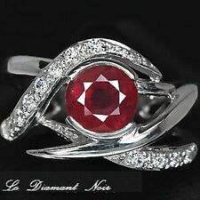 LDN_Bague Rubis Rouge Sang Saphirs blanc_Argent 925_T57/58