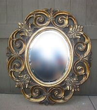 """35""""TALL x 32"""" Gold Gilt Floral Design Resin Wall Mirror French Provincial Style"""