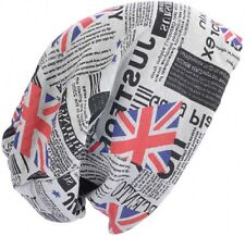 Beanie Hat Grey with Union Jack + Newspaper Print Size Extra Large Loose + Baggy