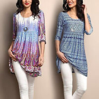 Womens Long Sleeve Blouse Gypsy Boho Cotton T Shirt Top Tunic Summer Loose Fit