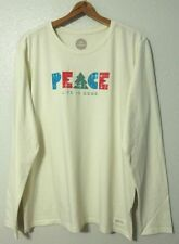 Life Is Good Crusher L/S Crewneck T-Shirt Womens 2XL Tree PEACE Simply Ivory NWT