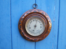 """Vintage Mahogany round 8.5"""" across (22cm) barometer working great condition   B1"""
