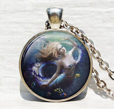 Vintage mermaid Cabochon Tibetan silver Glass Chain Pendant Necklace jewelry New