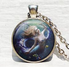 Vintage mermaid Cabochon Tibetan silver Glass Chain Pendant Necklace #83