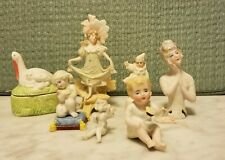 Lot of Seven Bisque Miniature Figures, Half doll, Fairies, Children