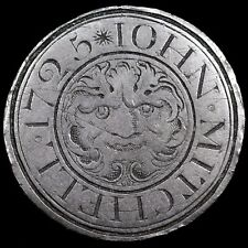 More details for an early georgian love / birth token, engraved halfpenny, john mitchell, 1725.