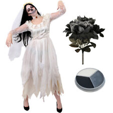 LADIES IVORY GHOST BRIDE COSTUME HALLOWEEN FANCY DRESS WOMENS ZOMBIE CORPSE