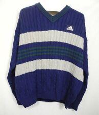 Vtg Adidas Wool Golf V Neck Sweater 90s Striped Blue Gray Green