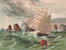 Antique Bufford Lithograph Color Print~Sailing Ship near Rocky Coast~1879~7x6 in