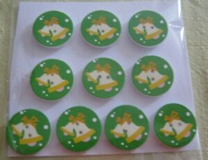 Wooden Buttons!  XMAS THEME!!  25mm wide & Qty 10  **NEW**  Assorted Designs [K]