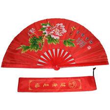 """13"""" Tai Chi Martial Arts Kung Fu Bamboo Fan Red Dance Pratice Folding Training"""