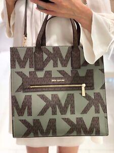 Michael Kors Kenly Large Tote Logo Signature Bag Army Green Multi