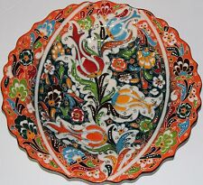 "Turkish 10"" Orange & Red Iznik Raised Tulip Pattern Handmade Ceramic Plate"