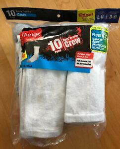 Hanes Boys' Cushion Crew Socks white - 10 Pairs - Sz L (Shoe Size 3-9) - Open Pk