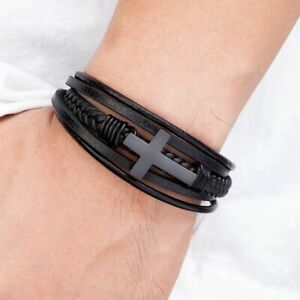 Multi-layer Cross Leather Bracelet Religious Christian Bangles Magnetic Clasp