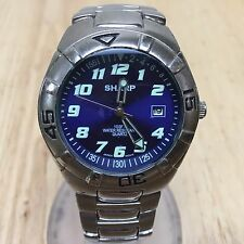 Vintage Sharp Men Blue Dial Steel Band Analog Quartz Watch Hour~Date~New Battery