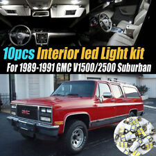 10Pc White Car Interior LED Light Bulb Kit for 89-91 GMC V1500/2500 Suburban