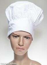 Chef Hat White Poly Muffin Top Costume Bakers Hat One Size