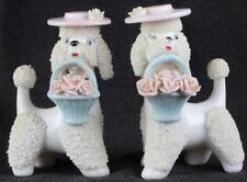 "5"" Pair of Namco Vintage Spaghetti Poodle Ceramic White, Pink & Blue Set 4R3886"