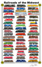 """Railroads of the Midwest 11""""x17"""" Poster by Andy Fletcher signed"""