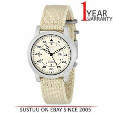 Seiko SNK803K2 5 Mens Military Style Automatic Watch│Beige Fabric Belt│beige Dia