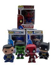 LOT of 7 Funko Pop Spider-Man Hulk Captain America Deadpool Batman