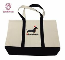 "Embroidered Santa Dachshund Canvas Tote Bag 10"" x 14"" x 3.25"" Makes a Great Gift"
