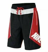 Nike Sportswear NSW Throwback Basketball Shorts Size Small Black Red AJ3673 010