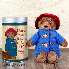 Paddington Bear (Personalised Tin) 18cm Soft Plush Toy Teddy Great Gift, So Cute