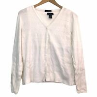ANN TAYLOR Cream Ivory Twinset Knit 3/4 Sleeve Button Cardigan + Tank Top Large