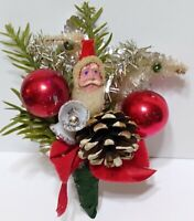 Vintage Christmas Corsage CLAY FACE SANTA Mercury Glass Red Silver package tie