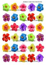 30 HIBISCUS FLOWER MIXED COLOURS Cupcake Cake Topper Edible Paper Decoration