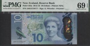 TT PK 192a 2015-16 NEW ZEALAND 10 DOLLARS PMG 69 EPQ SUPERB GEM ONLY THREE FINER
