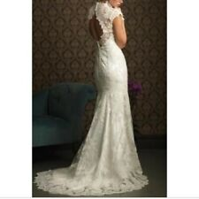 Allure Bridals Mermaid Style Keyhole Back Dress Size 8-10 Swarovski Crystal Belt