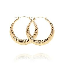 18k Layered Real Gold Filled Round Bamboo Earring #38