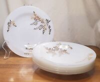 "Vintage Federal Heat Proof Milk Glass 8"" Bowls Golden Glory Bamboo Pattern"