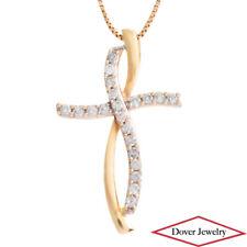 Estate Diamond 10K Gold Cross Small Slide In Pendant NR