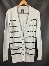 Victoria's Secret PINK Sequin Cardigan Sweater Gray Black 100% Cotton Size XS
