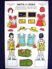 Vintage Pellerin Imagerie Odette a L'Ecole Uncut Paper Dolls Rich Colors Inv1390