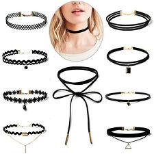 10pcs Black Choker Necklace Set Stretch Velvet Classic Gothic Tattoo Lace Tassel